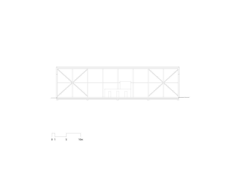 Längsschnitt Flugzeughangar Bern-Belp von Marazzi + Paul Architekten AG