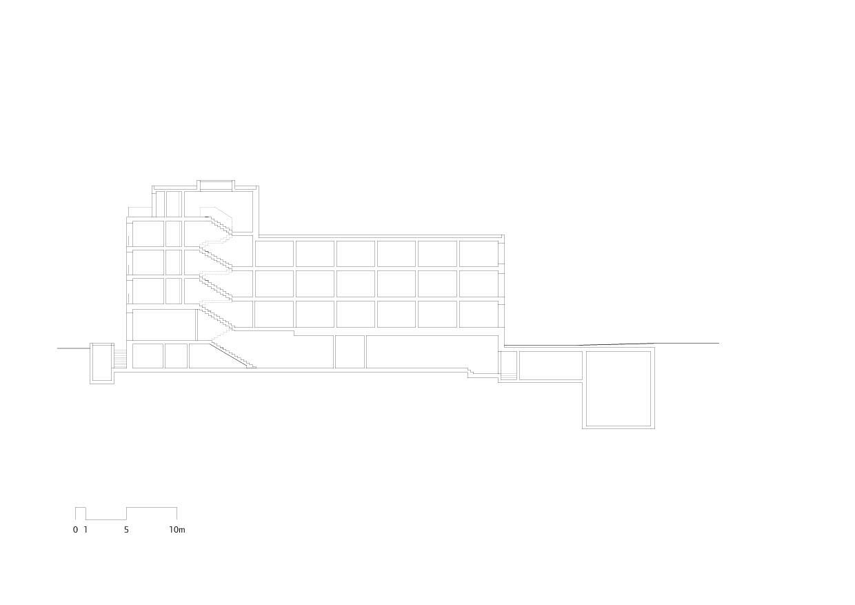 Längsschnitt mit Treppenhaus Hotel Alex Lake Zürich von Marazzi + Paul Architekten AG