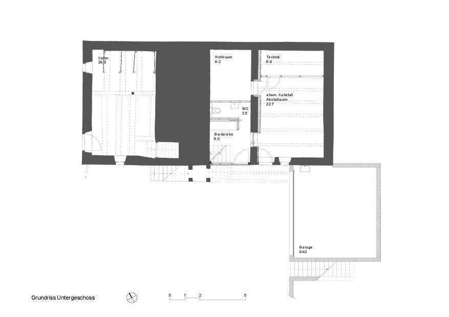 Grundriss UG Schuhmacher-Nägele-Haus von uli mayer urs hüssy architekten ETH SIA AG
