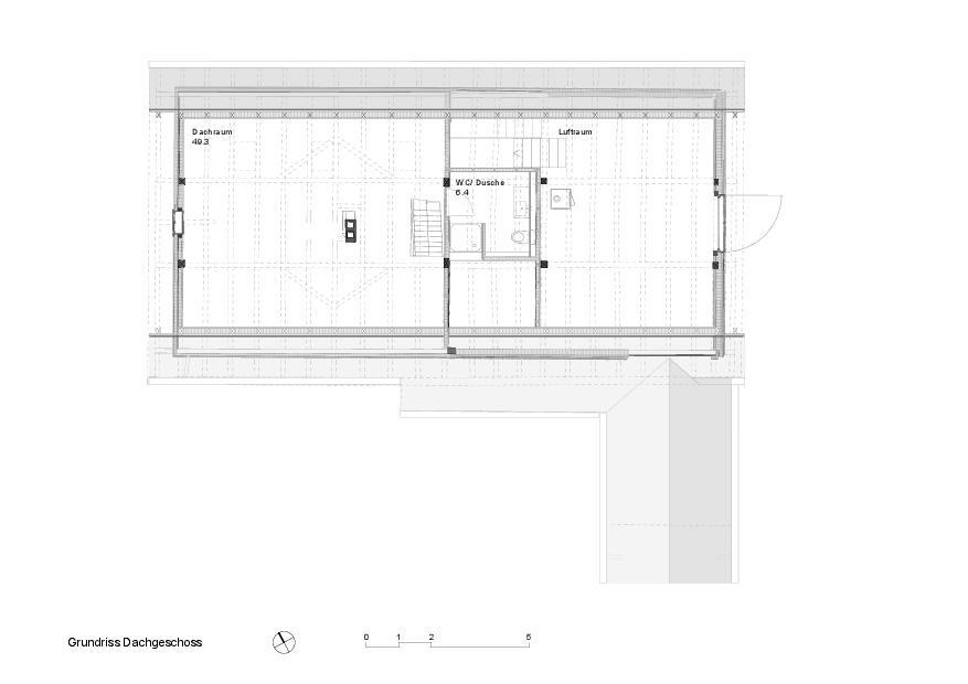 Grundriss DG Schuhmacher-Nägele-Haus von uli mayer urs hüssy architekten ETH SIA AG