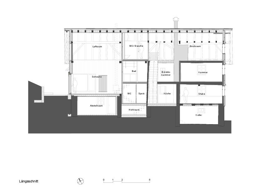 Längsschnitt Schuhmacher-Nägele-Haus von uli mayer urs hüssy architekten ETH SIA AG