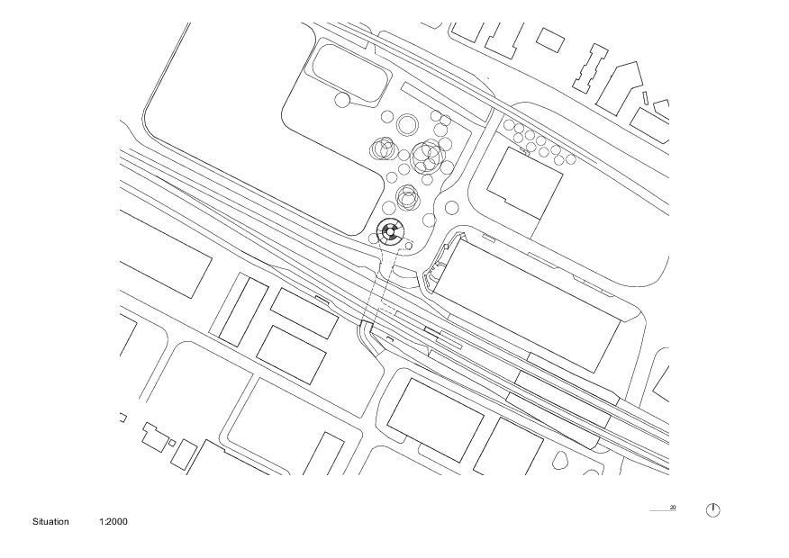 Situation Trait d'union - passage sous-voie pour la mobilité douce von PONT 12 Architectes SA
