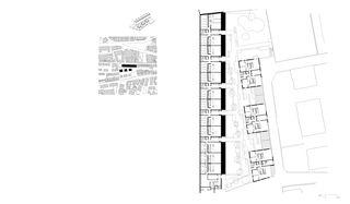 Grundriss und Situation L'Îlot-du-Centre von Richter - Dahl Rocha & Associés architectes SA