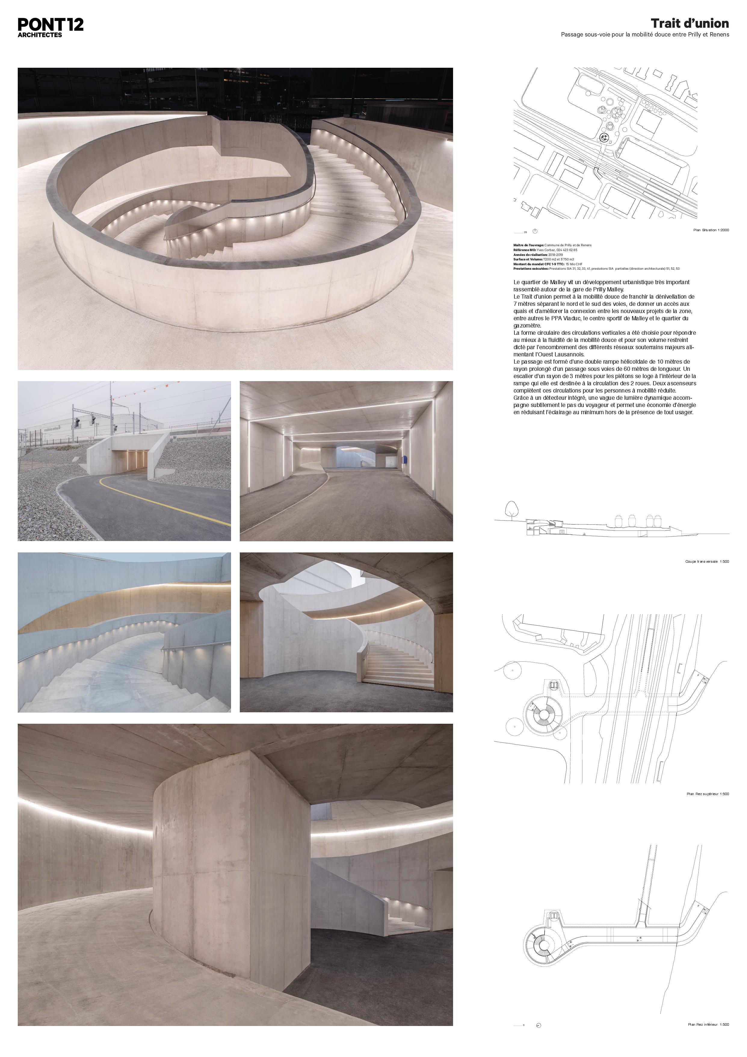 A0 Trait d'union - passage sous-voie pour la mobilité douce von PONT 12 Architectes SA