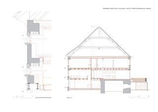 Schnitte und Detail Rehabilitation en centre ancien, Fbg de France Porrentruy von Burri et Partenaires sarl
