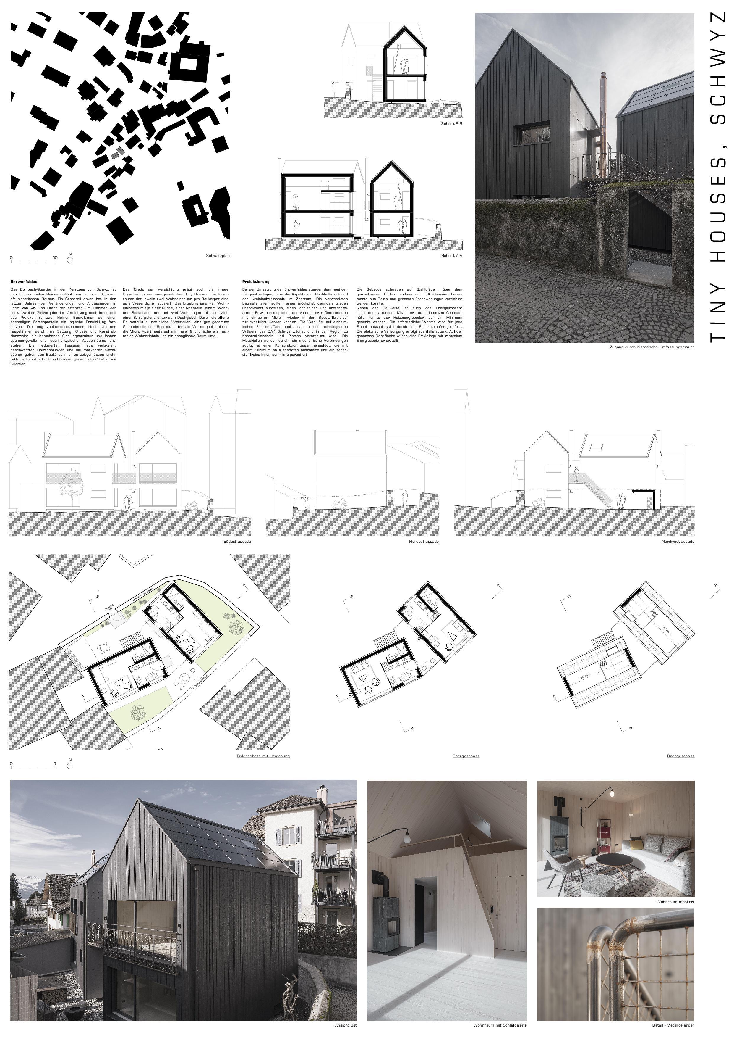 Affiche A0 Tiny Houses, Schwyz de marty architektur AG