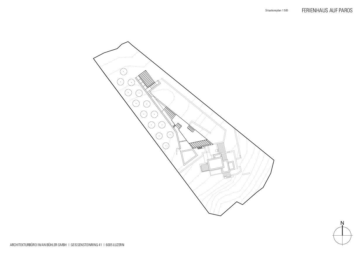 Situationsplan Ferienhaus auf Paros von Architekturbüro Iwan Bühler GmbH