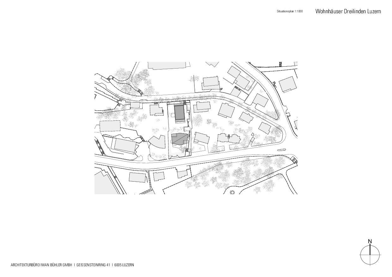 Situationsplan Wohnhäuser Dreilinden von Architekturbüro Iwan Bühler GmbH