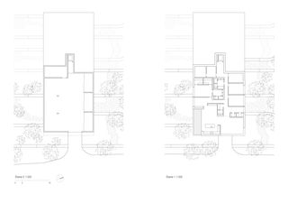 Grundrisse Ebene 0 und Ebene 1 Landenberg, Terrassenhäuser in Winterthur von Peter Kunz Architektur  FH/SIA/BSA