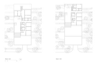 Plans niveau 2 et niveau 3 Landenberg, Terrassenhäuser in Winterthur de Peter Kunz Architektur  FH/SIA/BSA