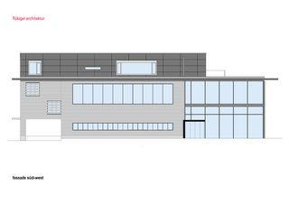 Fassade Süd-West Attikaaufbau in Langnau von flükiger architektur gmbh