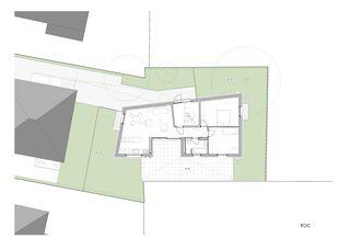 Grundriss Erdgeschoss 3 logements à Yverdon-les-Bains. von Atelier d'Architecture Vanderauwera sàrl