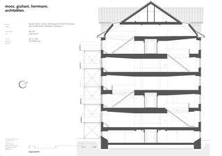 Schnitt und Grundrisse Umnutzung eines Spinnereigebäudes zu Wohn- und Gewerberaum von moos giuliani herrmann architekten ag