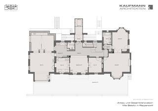 Grundriss Erdgeschoss Anbau und Gesamtrenovation Villa Belsito, Rapperswil von Kaufmann Architekten AG