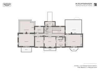 Grundriss Obergeschoss Anbau und Gesamtrenovation Villa Belsito, Rapperswil von Kaufmann Architekten AG