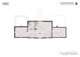 Grundriss Dachgeschoss Anbau und Gesamtrenovation Villa Belsito, Rapperswil von Kaufmann Architekten AG