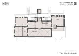 Grundriss Untergeschoss Anbau und Gesamtrenovation Villa Belsito, Rapperswil von Kaufmann Architekten AG