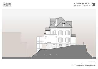 Westfassade Anbau und Gesamtrenovation Villa Belsito, Rapperswil von Kaufmann Architekten AG