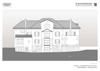 Nordfassade Anbau und Gesamtrenovation Villa Belsito, Rapperswil von Kaufmann Architekten AG