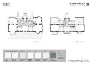 Farbkonzept Innen Anbau und Gesamtrenovation Villa Belsito, Rapperswil von Kaufmann Architekten AG
