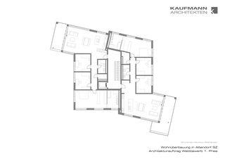 """Grundriss Haustyp Seehäuser. Wohnüberbauung """"Luferwis"""" in Altendorf SZ von Kaufmann Architekten AG"""