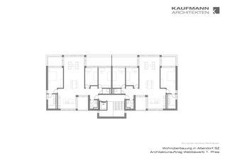 """Grundriss Haustyp Parkhäuser. Wohnüberbauung """"Luferwis"""" in Altendorf SZ von Kaufmann Architekten AG"""
