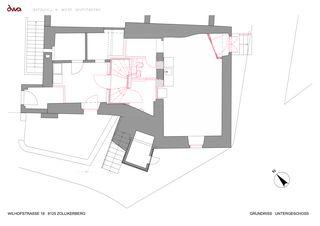 Grundriss Untergeschoss Umbau Riegelhaus Zollikerberg von defourny + wirth architekten