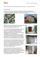 Projektbeschrieb Umbau Riegelhaus Zollikerberg von defourny + wirth architekten