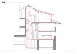 Schnitt Treppenhaus Umbau Riegelhaus Zollikerberg von defourny + wirth architekten