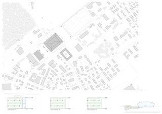 Situationsplan & Schema der Einstellhalle Mst. 1: 1000 Architektur & Sport: Ein Eisstadion für Langenthal im Oberaargau (BE) von