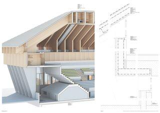 Fassadenschnitt Mst. 1: 50 & Details Mst. 1: 5 Architektur & Sport: Ein Eisstadion für Langenthal im Oberaargau (BE) von
