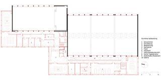 Grundriss Aufstockung Sport- und Mehrzweckhalle von j.+d.schatzmann ag, architekturbüro fh