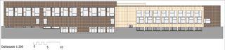 Ostfassade Sport- und Mehrzweckhalle von j.+d.schatzmann ag, architekturbüro fh