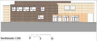 Nordfassade Sport- und Mehrzweckhalle von j.+d.schatzmann ag, architekturbüro fh