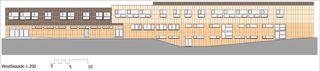 Westfassade Sport- und Mehrzweckhalle von j.+d.schatzmann ag, architekturbüro fh