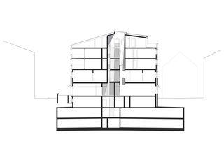 Schnitt Raiffeisenbank von Jüngling Hagmann Architekten
