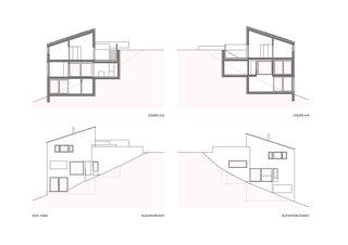 Schnitt Ost-West Villa familiale von Bureau d'architectes Giorla & Trautmann SA