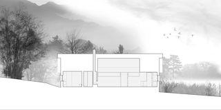 Schnitt Ost-West Chalet Givrins von M2R architectes