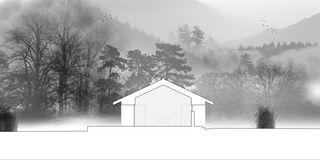 Schnitt Nord-Süd Chalet Givrins von M2R architectes
