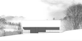 Nordfassade Chalet Givrins von M2R architectes