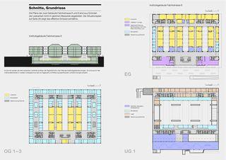 Coupes et plans de Fabrikstrasse 8 und 6 Hochschulzentrum vonRoll de Spreng + Partner Architekten AG