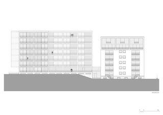 Ostfassade 1:200 Residenza al Parco von Michele Arnaboldi Architetti Sagl