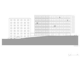 Westfassade 1:200 Residenza al Parco von Michele Arnaboldi Architetti Sagl