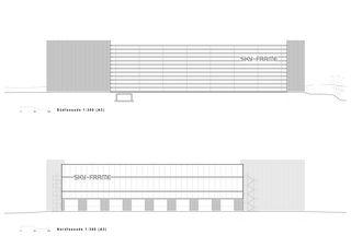 Façade nord-sud Sky-Frame Headquarter de Peter Kunz Architektur mir Atelier Strut AG