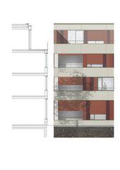 Detailschnitt und Fassadenansicht Alterswohnungen Köschenrüti  von Architekten ETH SIA BSA<br/>