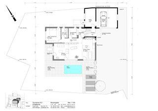 Grundriss EG + Umgebung Minergie-Wohnhaus Gipf-Oberfrick von Architekturbüro André Schär Dipl. Arch. FH