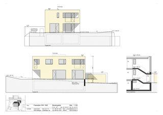 Fassaden Südwest, Nordwest, Schnitt Treppenhaus Minergie-Wohnhaus Gipf-Oberfrick von Architekturbüro André Schär Dipl. Arch. FH