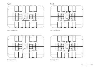 Grundrisse Siedlung Sunnige Hof von Architekten ETH/ BSA/ SIA/SWB<br/>