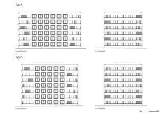 Façades Siedlung Sunnige Hof de Architekten ETH/ BSA/ SIA/SWB<br/>