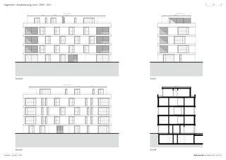 Fassaden + Schnitt Arealbebauung Lorze von Della Casa AG Architekten SIA